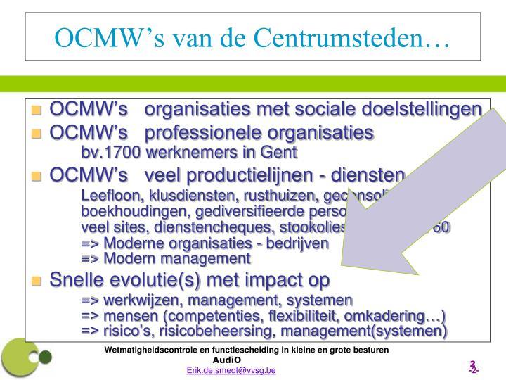 OCMW's van de Centrumsteden…