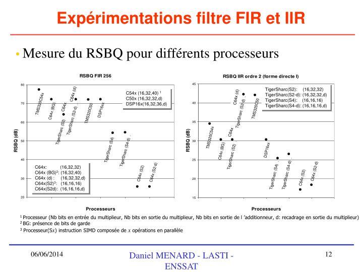 Expérimentations filtre FIR et IIR