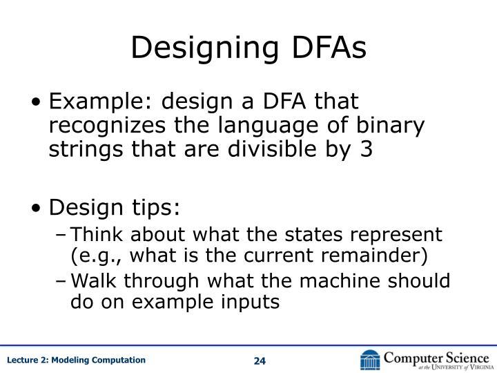 Designing DFAs