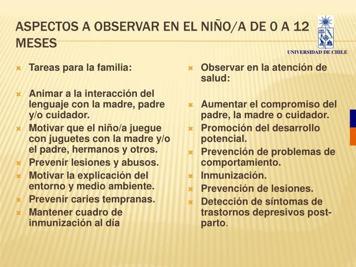 ASPECTOS A OBSERVAR EN EL NIÑO/A DE 0 A 12 MESES