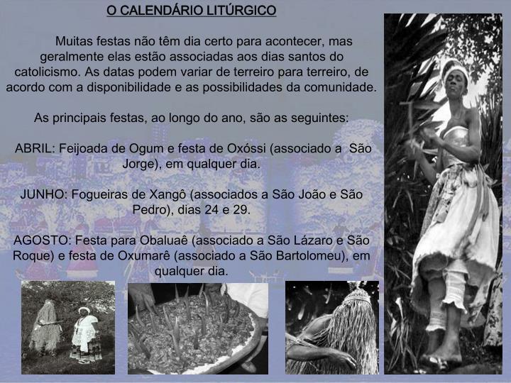 O CALENDÁRIO LITÚRGICO