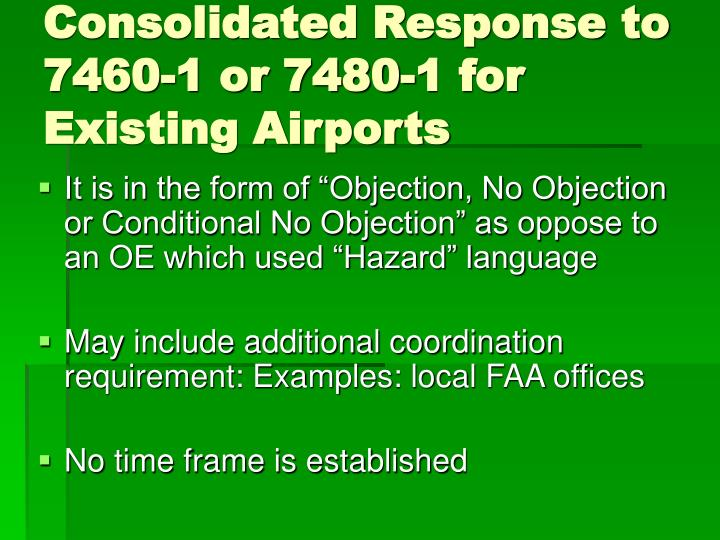 Consolidated Response to 7460-1 or 7480-1 for Existing Airports