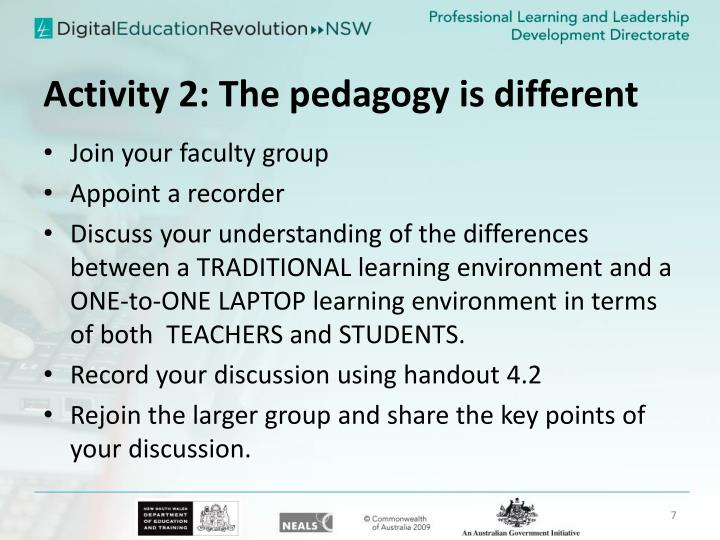 Activity 2: The pedagogy is different