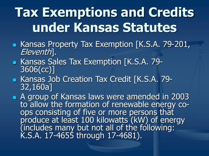 Tax Exemptions and Credits under Kansas Statutes