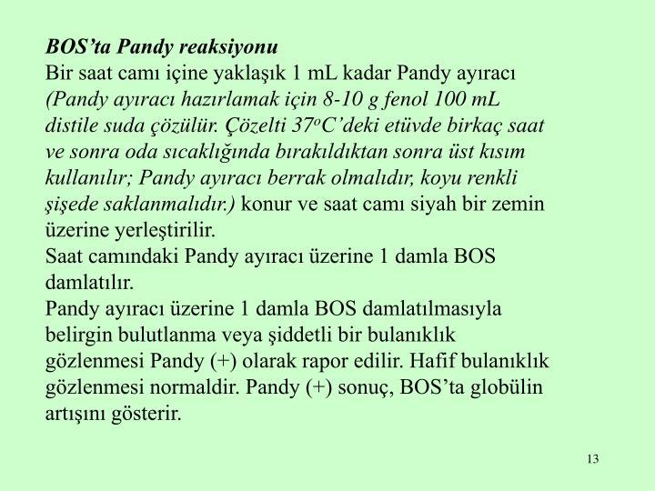 BOS'ta Pandy reaksiyonu