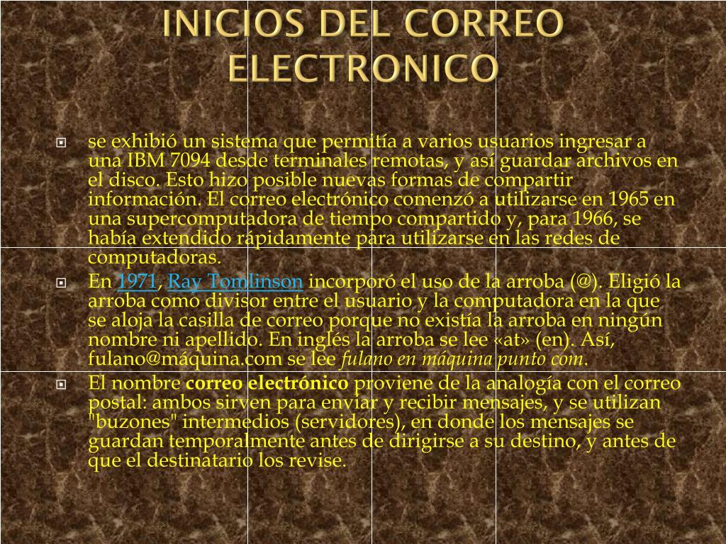 INICIOS DEL CORREO ELECTRONICO