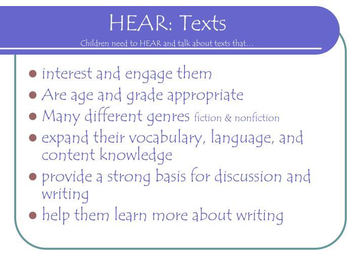 HEAR: Texts