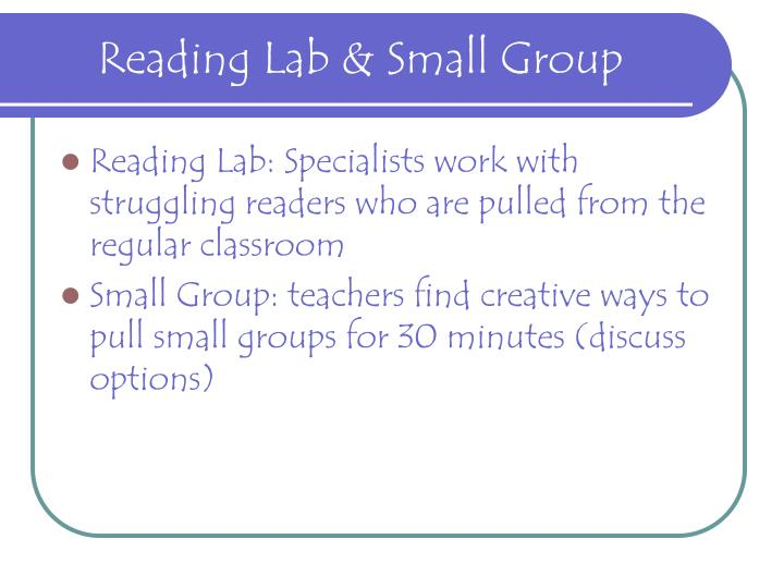 Reading Lab & Small Group