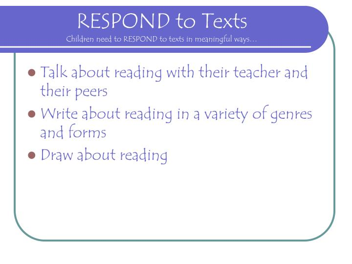 RESPOND to Texts