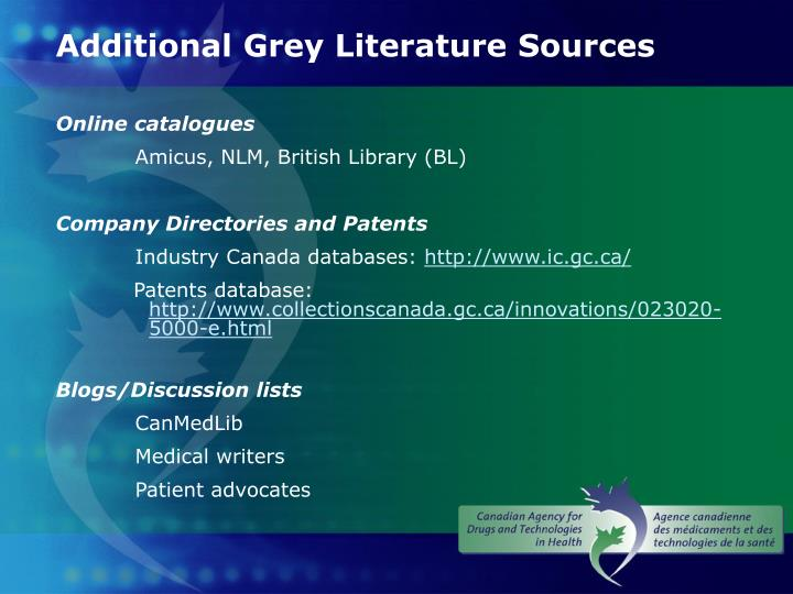 Additional Grey Literature Sources