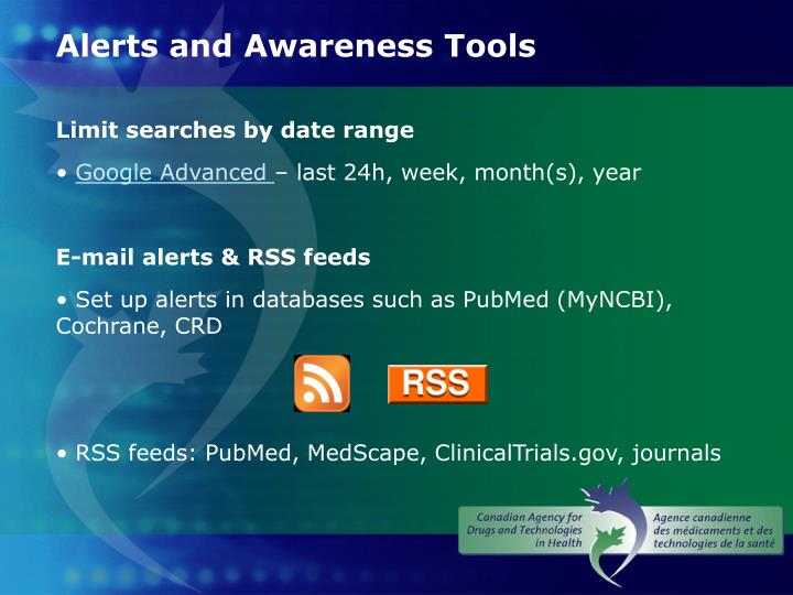 Alerts and Awareness Tools