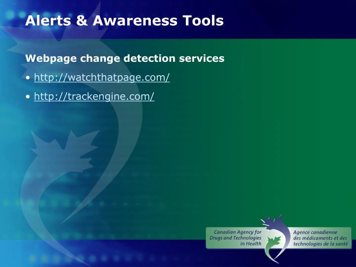 Alerts & Awareness Tools