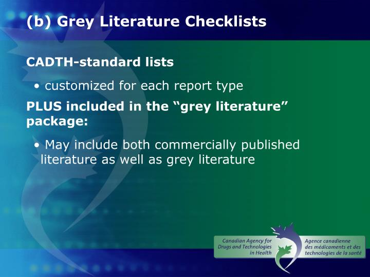 (b) Grey Literature Checklists