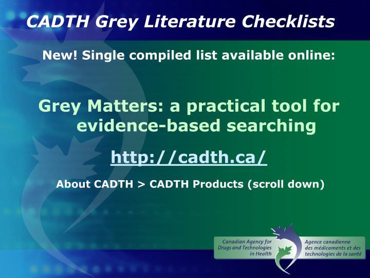 CADTH Grey Literature Checklists