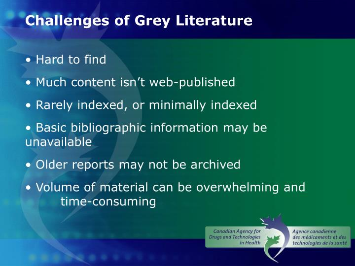 Challenges of Grey Literature