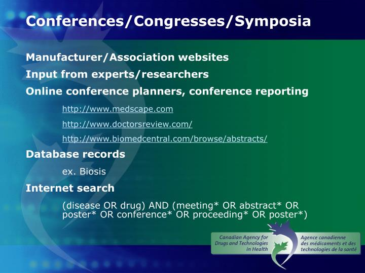 Conferences/Congresses/Symposia