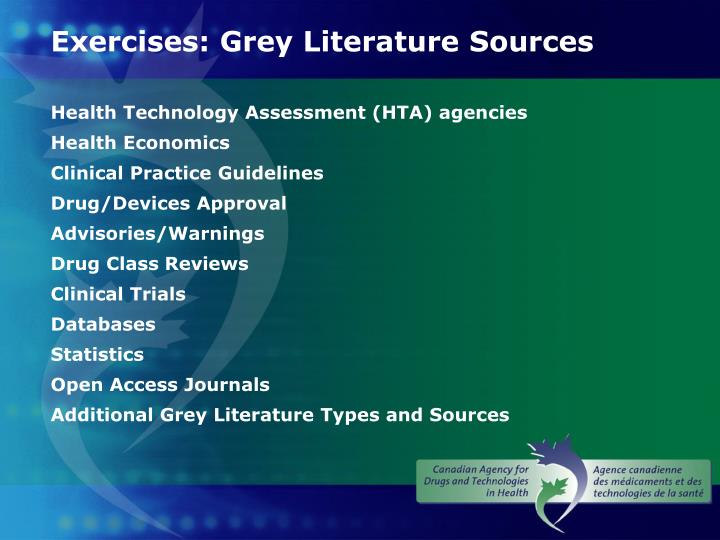 Exercises: Grey Literature Sources