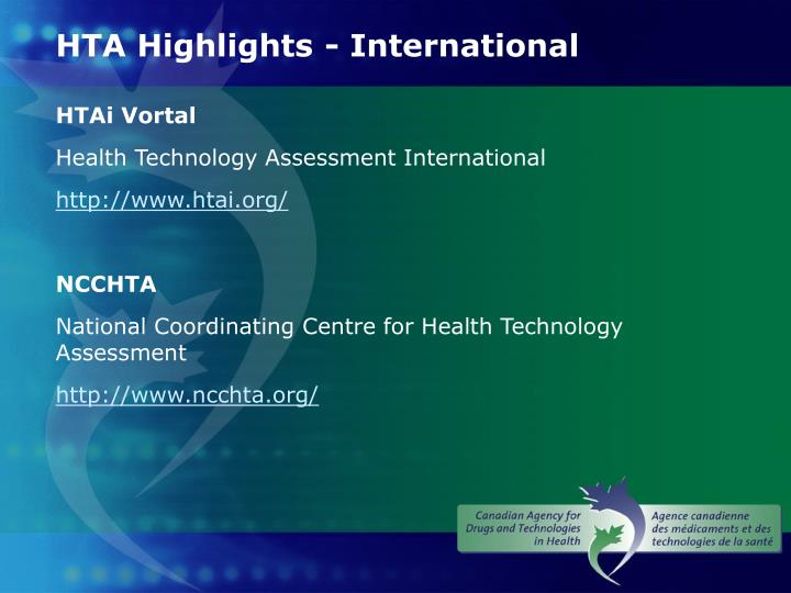 HTA Highlights - International