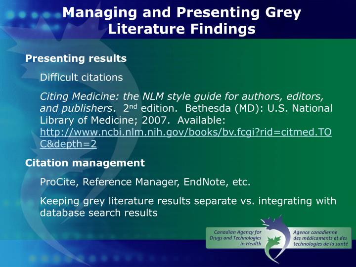 Managing and Presenting Grey Literature Findings