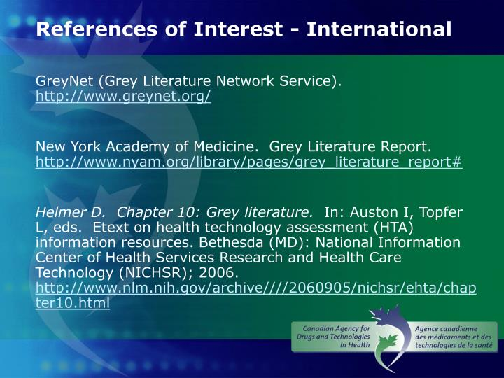 References of Interest - International