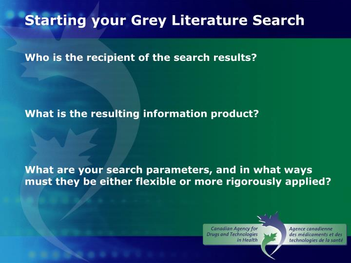 Starting your Grey Literature Search