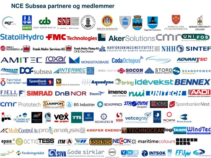NCE Subsea partnere og medlemmer