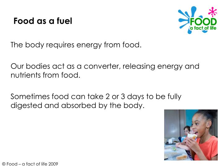 Food as a fuel