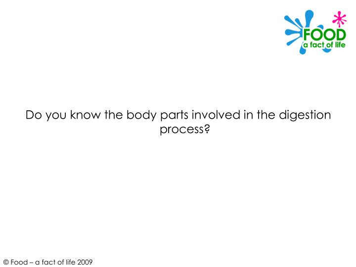 Do you know the body parts involved in the digestion process?