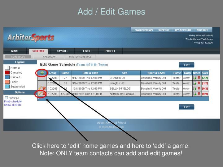 Add / Edit Games