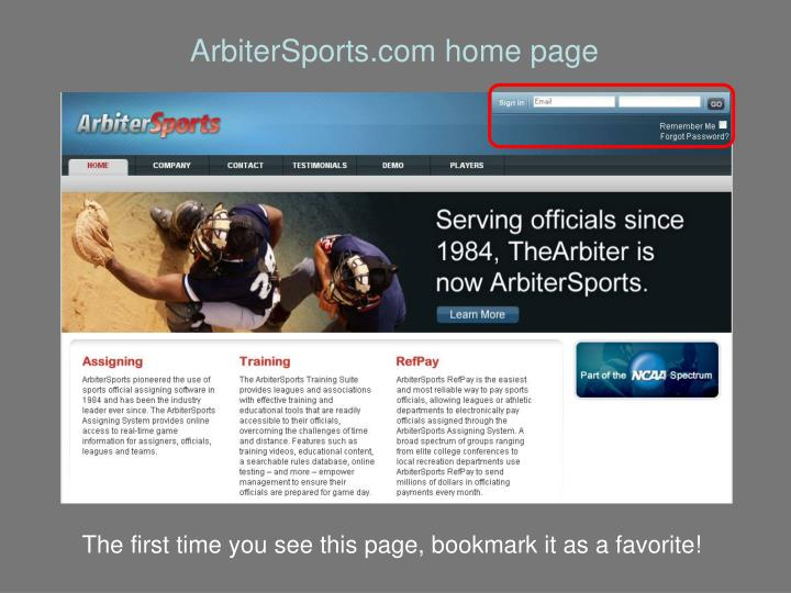 ArbiterSports.com home page