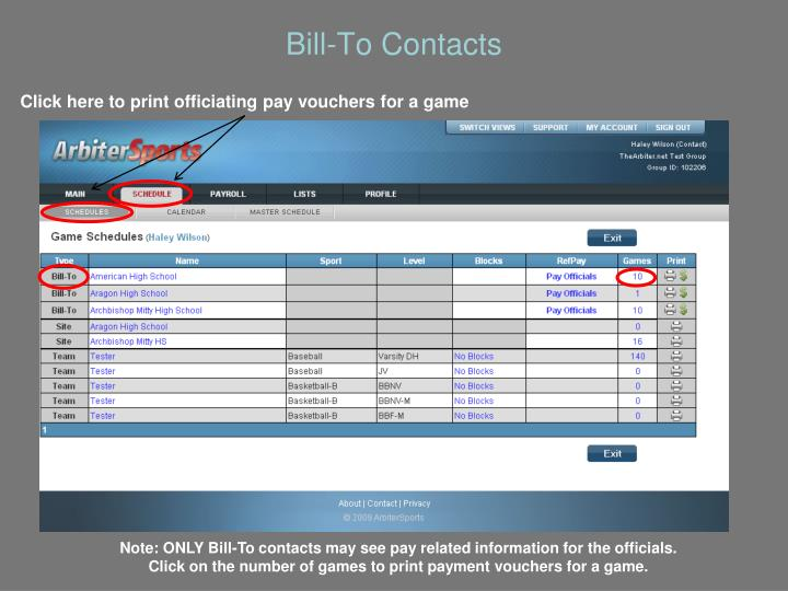 Bill-To Contacts