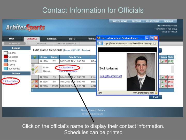 Contact Information for Officials