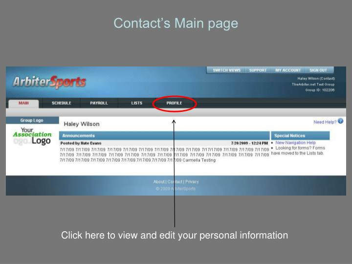 Contact's Main page