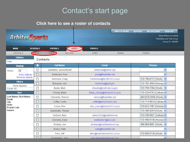 Contact's start page