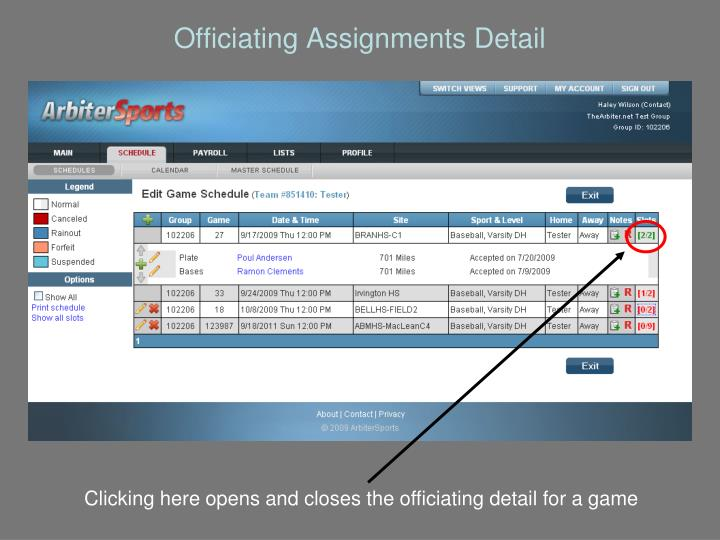 Officiating Assignments Detail