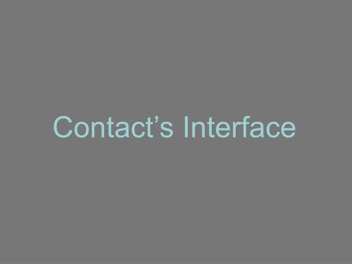 Contact's Interface