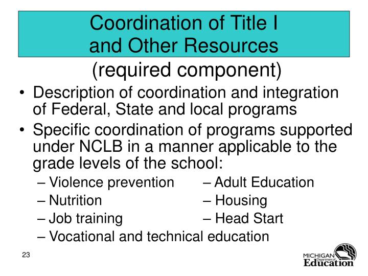 Coordination of Title I