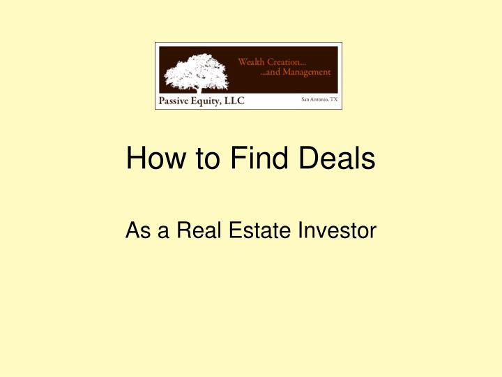 How to Find Deals