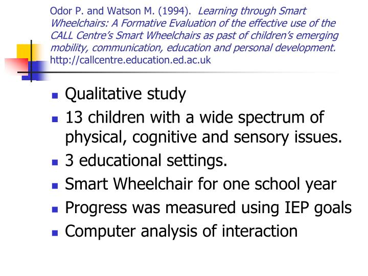 Odor P. and Watson M. (1994).