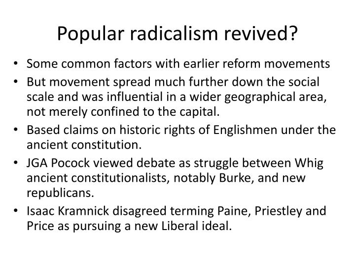 Popular radicalism revived?