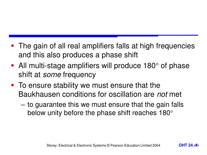 The gain of all real amplifiers falls at high frequencies and this also produces a phase shift