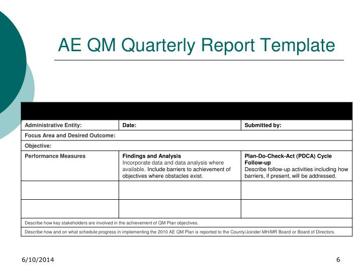 AE QM Quarterly Report Template