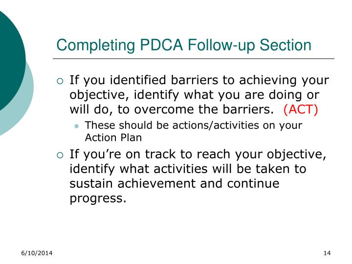 Completing PDCA Follow-up Section