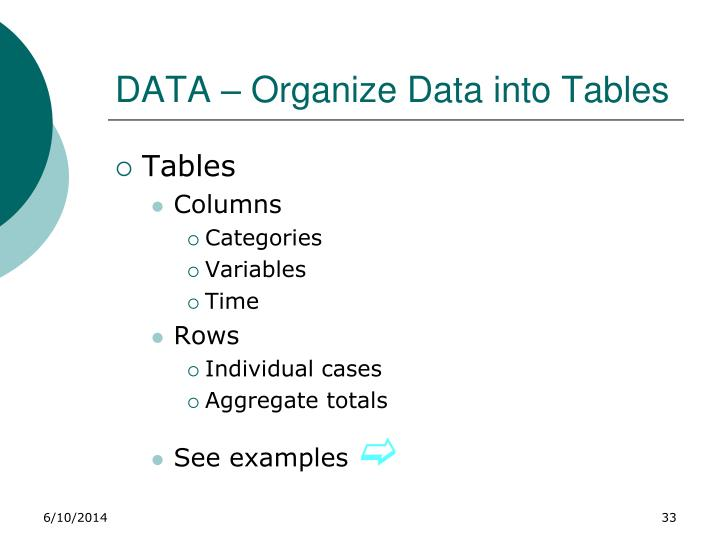 DATA – Organize Data into Tables