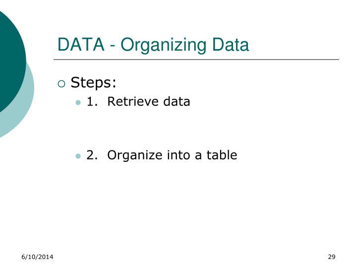 DATA - Organizing Data