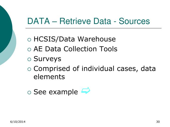 DATA – Retrieve Data - Sources
