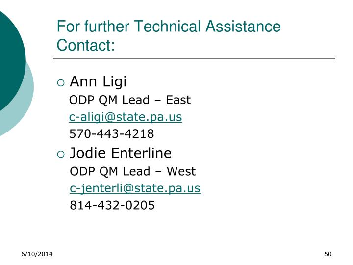For further Technical Assistance Contact: