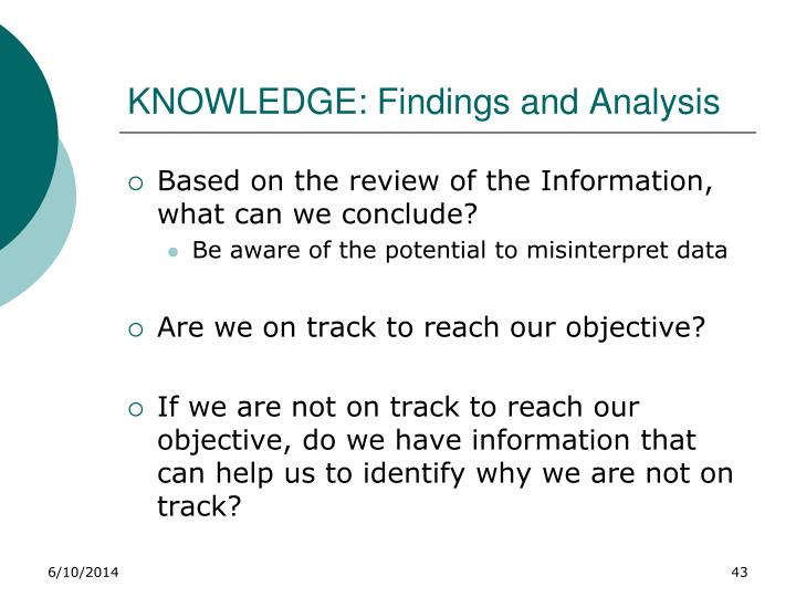 KNOWLEDGE: Findings and Analysis