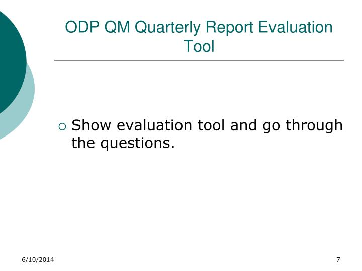 ODP QM Quarterly Report Evaluation Tool
