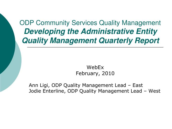 ODP Community Services Quality Management